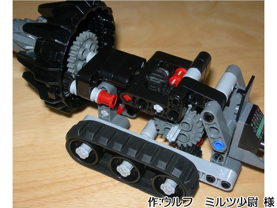ウルフ ミルツ少尉 様作のレゴテクニック作品「ドリル掘削車」内部機構画像