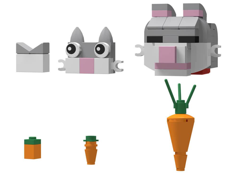 ネコとニンジンを、レゴで作りこみの度合いで分けて3パターン用意しました。