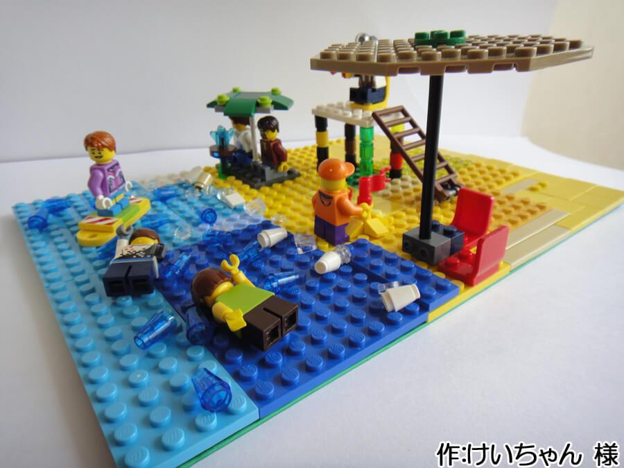 海水浴のレゴ作品。夏休みの思い出作品の一例です。