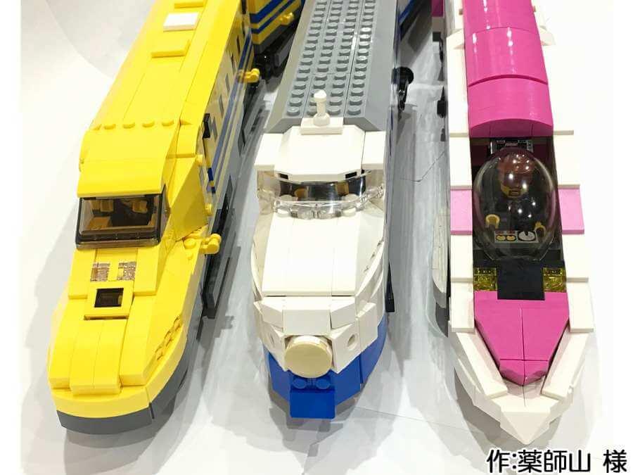3種類の新幹線作品を正面から。全ての運転席に運転手が座っています。